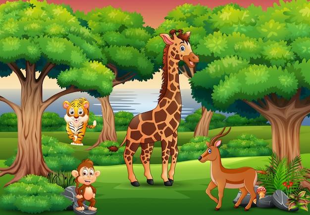 Animal selvagem dos desenhos animados desfrutando na selva