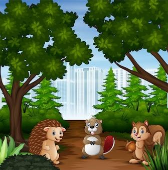 Animal selvagem dos desenhos animados na cidade