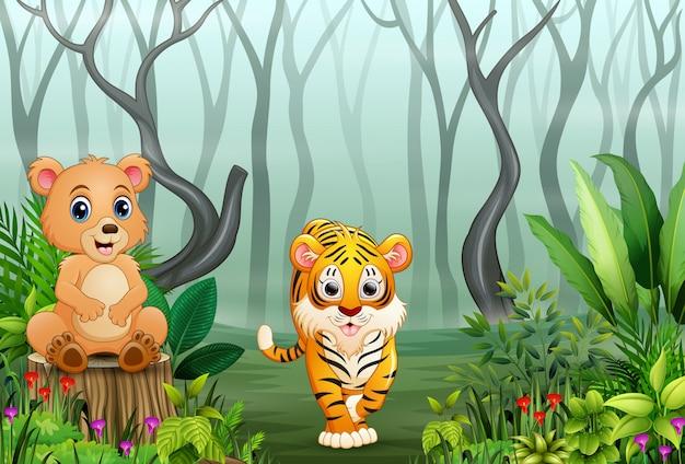 Animal selvagem dos desenhos animados na floresta com galhos secos