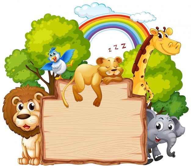 Animal selvagem na bandeira de madeira