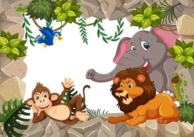Animal selvagem na fronteira de pedra Vetor Premium