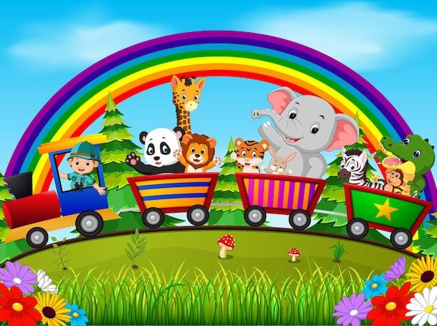 Animal selvagem no trem com arco-íris