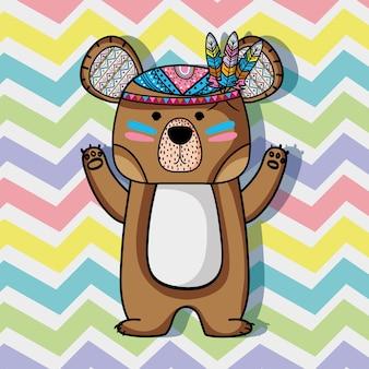 Animal tribal do urso com design de penas