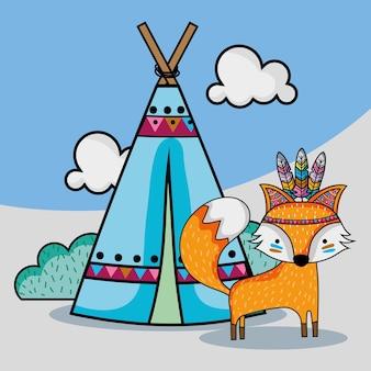 Animal tribal fox fofo com acampamentos e nuvens