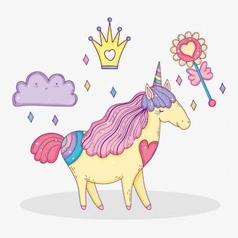 Animal unicórnio com coroa e nuvem com flor