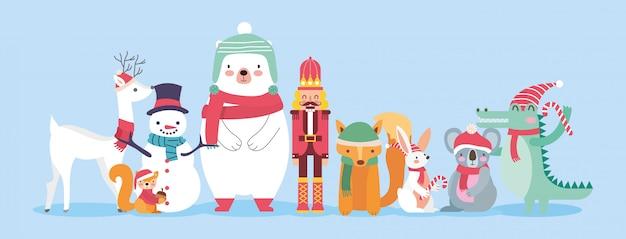 Animales bonitos com roupas de natal.