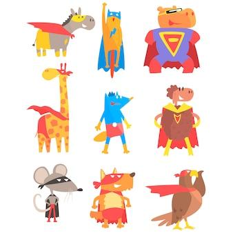 Animas vestidos como super-heróis conjunto de adesivos de estilo geométrico