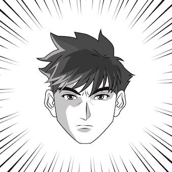 Anime boy or man cartoon icon