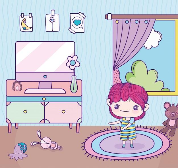 Anime cute boy room computador mesa brinquedos janela