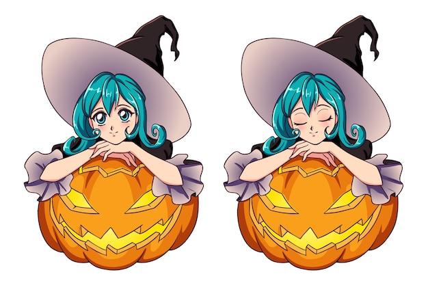 Anime fofa bruxa com cabelo azul sentado em jack o lantern.