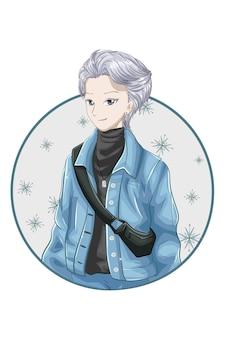 Anime japonês bonito de cabelo prateado vestindo jaqueta azul e gola alta preta