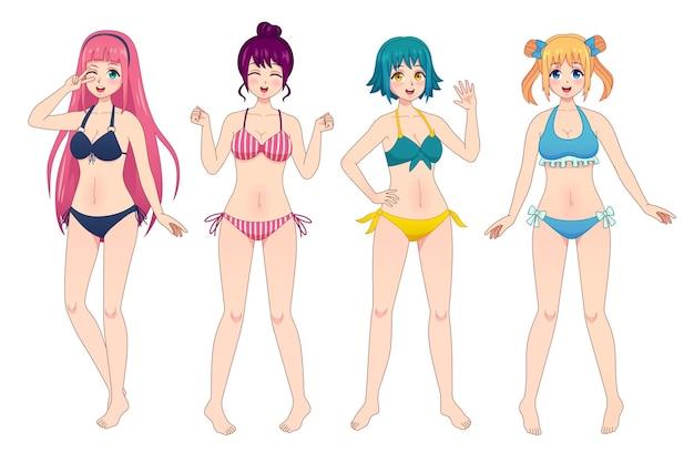 Anime mangá meninas de biquíni. grupo de personagens de quadrinhos japoneses femininos do kawaii em trajes de banho. conjunto de vetores de mulher de praia piscando, acenando e sorrisos. meninas em trajes de banho com cabelos coloridos diferentes