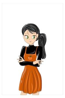 Anime meninas cartoon desenho bonito à mão
