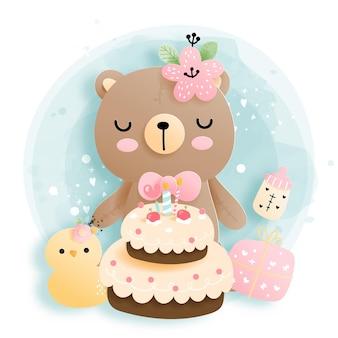 Aniversariante com o urso da menina, aniversário do ursinho de pelúcia.