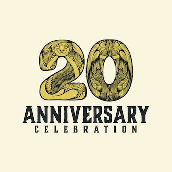 Aniversário 20 logotipo vintage