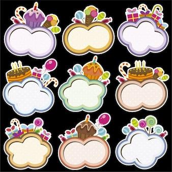 Aniversário armações com forma da nuvem