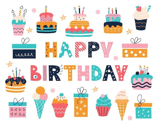 Aniversário brilhante com uma inscrição no estilo doodle bolos, bolinhos, presentes e sorvete