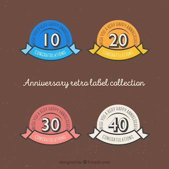 Aniversário coleção etiqueta retro