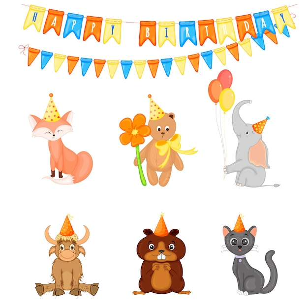 Aniversário com animais fofos em um fundo branco. estilo de desenho animado. vetor.
