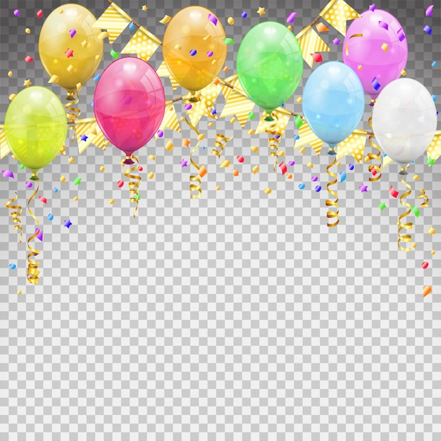 Aniversário com balões, bandeiras de fitas trançadas de serpentina dourada. carnaval de aniversário, festa de natal, decoração de ano novo com balão transparente. em fundo transparente