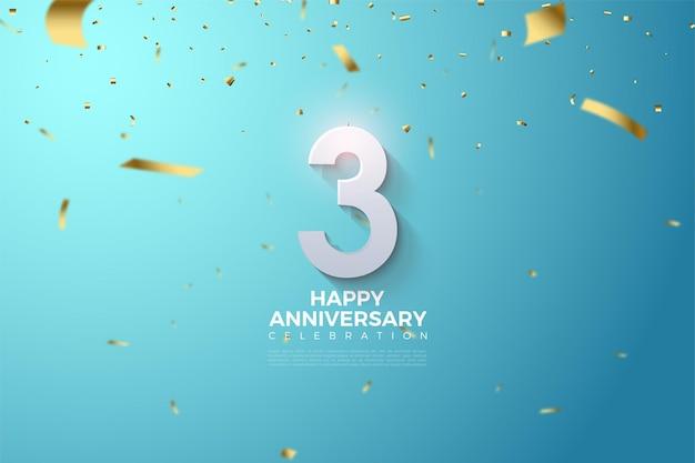 Aniversário com ilustração de numerais em fundo azul brilhante.