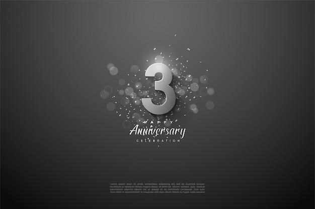 Aniversário com ilustração de número de prata e efeito de círculo de luz.