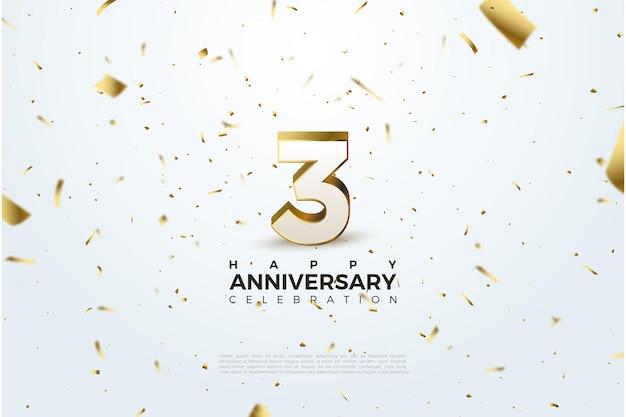 Aniversário com ilustração numérica de ouro. Vetor Premium