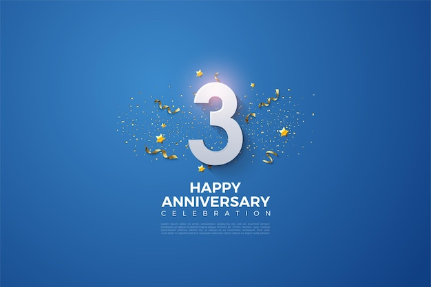 Aniversário com números e festividade sobre fundo azul.