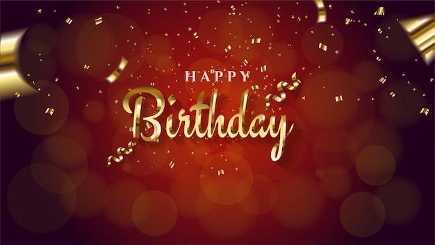 Aniversário com ouro colorido em um vermelho embaçado