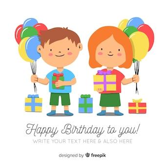 Aniversário, crianças, segurando, balões, fundo