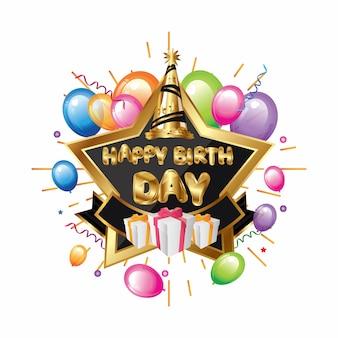 Aniversário da estrela elegante com balão