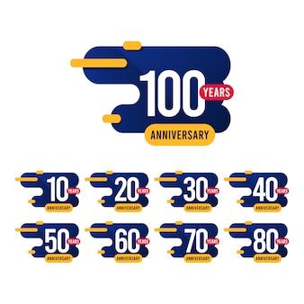 Aniversário de 100 anos azul amarelo modelo design ilustração