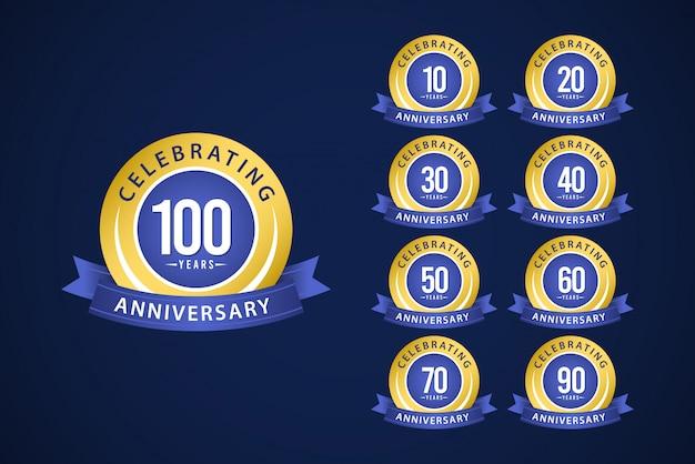 Aniversário de 100 anos conjunto celebrações azul e amarelo modelo design ilustração