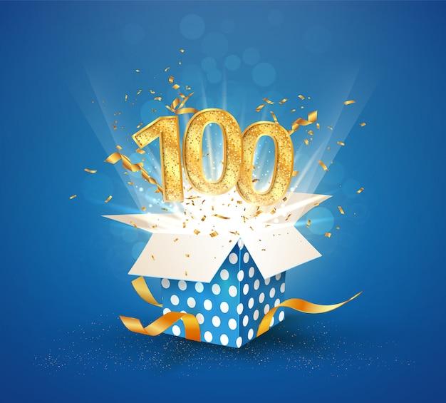 Aniversário de 100 anos e caixa de presente aberta com confetes de explosões. elemento isolado