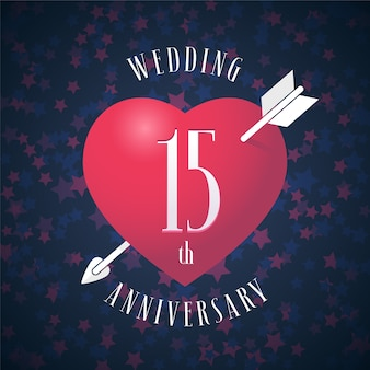 Aniversário de 15 anos de casamento com ícone de vetor. elemento de design gráfico com coração de cor vermelha e seta para decoração de casamento de 15 anos