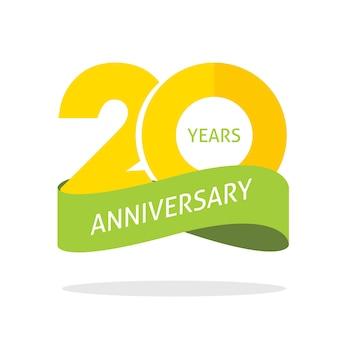 Aniversário de 20 anos comemorando o ícone do logotipo de vetor