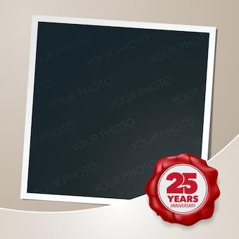 Aniversário de 25 anos. colagem de moldura de foto 25º aniversário