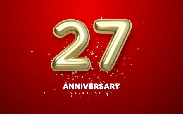 Aniversário de 27 anos, jubileu de logotipo do ano minimalista em fundo vermelho