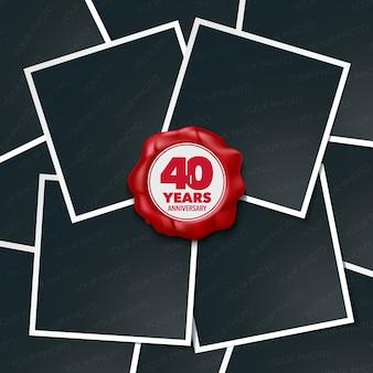 Aniversário de 40 anos. colagem de molduras de fotos e carimbo de cera vermelha 40º aniversário