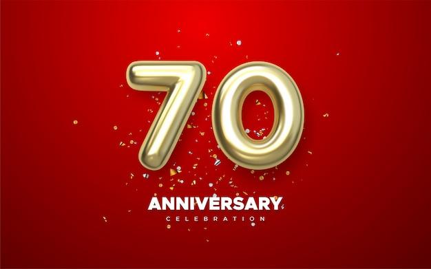 Aniversário de 70 anos, jubileu de logotipo minimalista em fundo vermelho