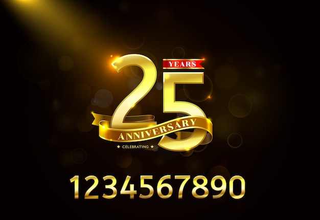 Aniversário de anos com fita dourada