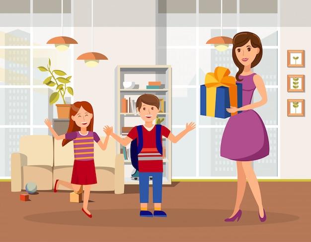 Aniversário de crianças comemoração vector plana ilustração