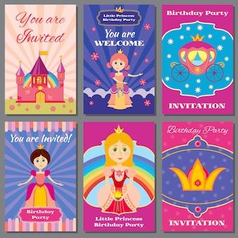Aniversário de menina criança, conjunto de convites de vetor de festa de princesa
