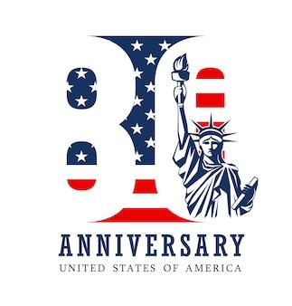 Aniversário de oitenta anos, bandeira americana e estátua da liberdade