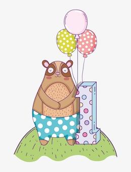 Aniversário de urso bonito um ano com balões