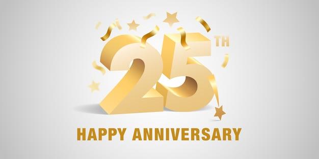 Aniversário de vinte e cinco anos com números dourados 3d