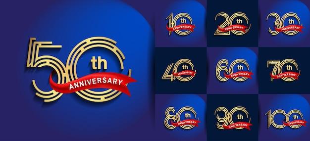 Aniversário definido estilo de logotipo com cor dourada e fita vermelha