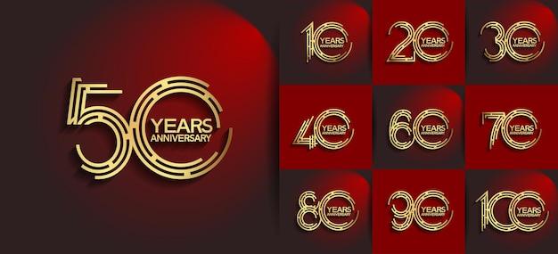 Aniversário definido estilo de logotipo com cor dourada