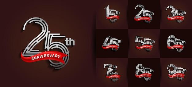 Aniversário definido estilo de logotipo com cor prata e fita vermelha