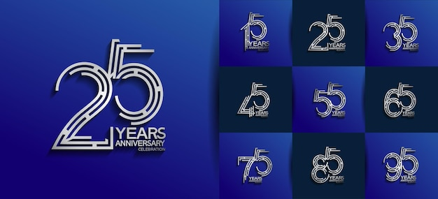 Aniversário definido estilo de logotipo com cor prata